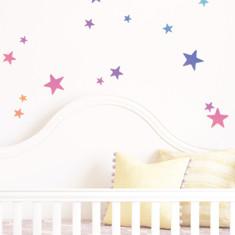 Rainbow Gradient Stars Pattern Wall Sticker