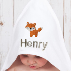 Personalised Woodland Fox Baby Towel