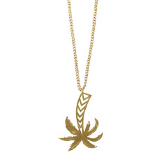 Palm Tree Pendant Necklace In Gold