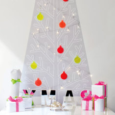 Fluoro Christmas tree wall decal with lights & baubles