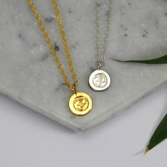Sterling silver & gold ohm charm necklace