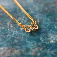 Children's gold plated butterfly charm necklace