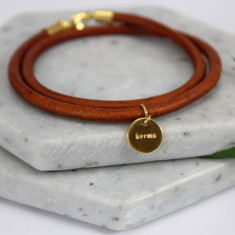 Engraved Karma charm leather bracelet