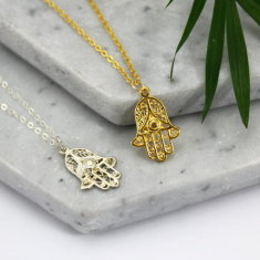 Gold & sterling silver hamsa necklace