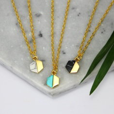 Mini hexagon stone necklace
