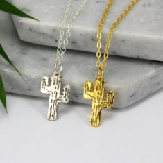 Sterling silver & gold cactus necklace