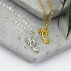 Sterling silver & gold palm tree necklace