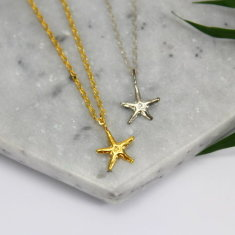 Sterling silver & gold starfish necklace