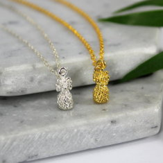 Sterling silver & gold pineapple necklace