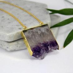 Amethyst slice pendant necklace