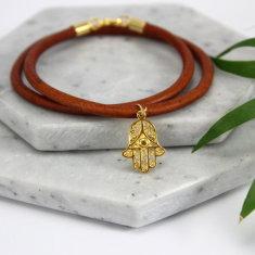 Hamsa charm leather bracelet
