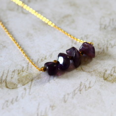 Children's semi-precious stone bar necklace