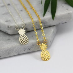 Sterling silver & gold pineapple charm necklace