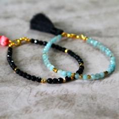 Faceted semi-precious stone tassel bracelet