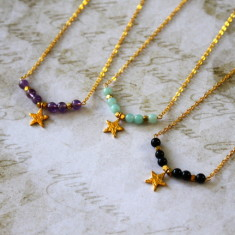 Children's star charm necklace with semi-precious stones