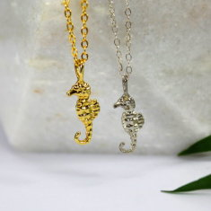 Sterling silver & gold seahorse necklace