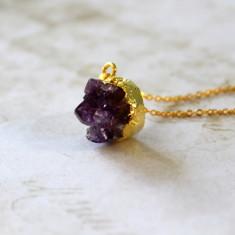 Children's mini amethyst nugget necklace