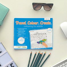 Travel colour create colouring book mouse mat