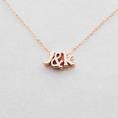 Personalised Initials & Ampersand/Heart Necklace in rose gold or silver