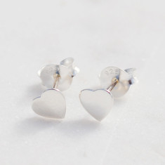 Petite Heart stud earrings in sterling silver