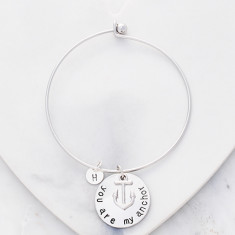 Personalised initial You are my anchor bangle in silver