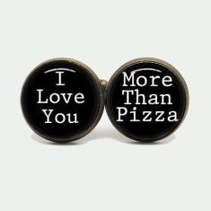 I love you more than pizza silver or antique cufflinks