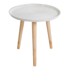 White Embossed Side Table