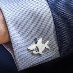 Sharks cufflinks in sterling silver