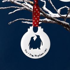 Personalised Mr and Mrs penguin bauble