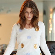 Merino Sequin Spot Sweater In Cream, Grey & Gold