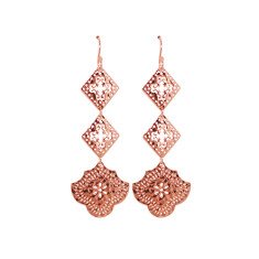 Goddess Hanging Earrings in Rose Gold Plate