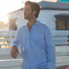 Braddock blue stripe men's pyjama shirt