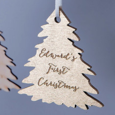 Personalised Gold Christmas Tree Bauble Decoration