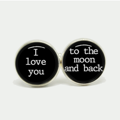 I love you to the moon and back silver or antique cufflinks