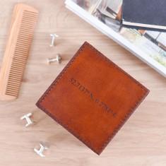 Personalised co-ordinates leather stud box