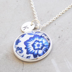 Personalised blue flower china pattern necklace in silver