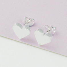 Brushed heart studs in silver
