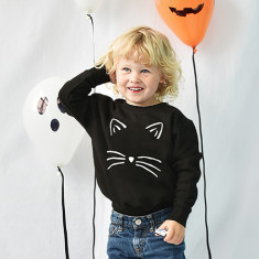 Cat Face Halloween Children's Sweatshirt Jumper