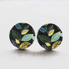Stylized leaves wood stud earrings