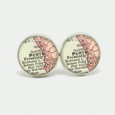 Perth city cufflinks in silver or antique