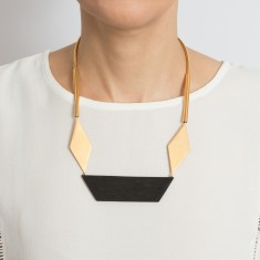 Origami ebony and gold necklace