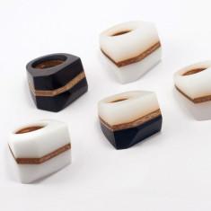 Facet Ring - Black, Black & White or White - Mabel