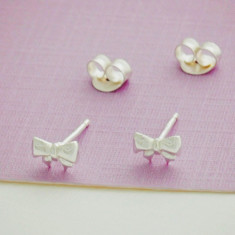 Kids sterling silver bow studs
