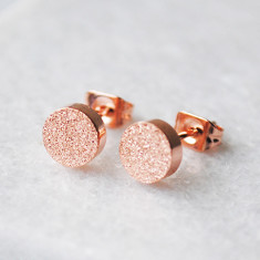 Circle shimmer studs in rose gold or gold
