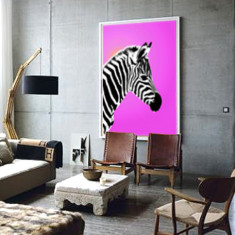Gleaming zebra ready to hang canvas art