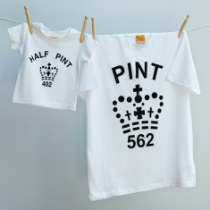 Matching pint & half pint t-shirt set for dad and child (various colours)