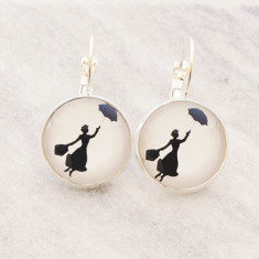 Mary Poppins glass dangle drop earrings in silver
