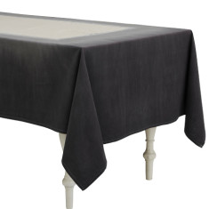 Dip dye charcoal Chambray cotton tablecloth