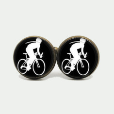 Bike cufflinks in silver or antique