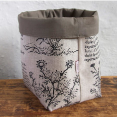 Fabric Baskets, Latin Herbal (black)